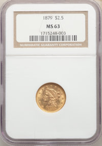 1879 $2 1/2 MS63 NGC. NGC Census: (74/66). PCGS Population: (131/103). CDN: $550 Whsle. Bid for NGC/PCGS MS63. Mintage 8...