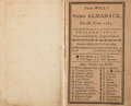 Books:Pamphlets & Tracts, [Almanack]. Poor Will's Pocket Almanack for the Year 1784. Philadelphia: 1784. First edition....