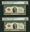 Fr. 1501 $2 Consecutive Pair 1928 Legal Tender Note. PMG Choice Uncirculated 64 EPQ. ... (Total: 2 notes)