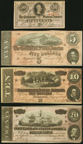 Confederate Notes:1863 Issues, T63 50 Cents 1863 Crisp Uncirculated;. T67 $20 1864 About Uncirculated;. T68 $10 1864 Crisp Uncirculated;. T69 $5 ... (Total: 4 notes)