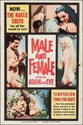 "Movie Posters:Exploitation, Male and Female Since Adam and Eve (William Mishkin Motion Pictures Inc., 1961). Folded, Fine/Very Fine. One Sheet (27"" X 41..."