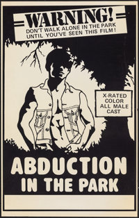 "Abduction in the Park & Other Lot (P.M. Productions, 1976). Folded, Very Fine-. Posters (2) (19"" X 30.25"")..."
