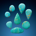 Gems:Cabochons, Turquoise Cabochons (Set of 8). Arkansas, USA . ... (Total: 8 Items)