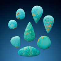 Turquoise Cabochons (Set of 8) Arkansas, USA  ... (Total: 8 Items)