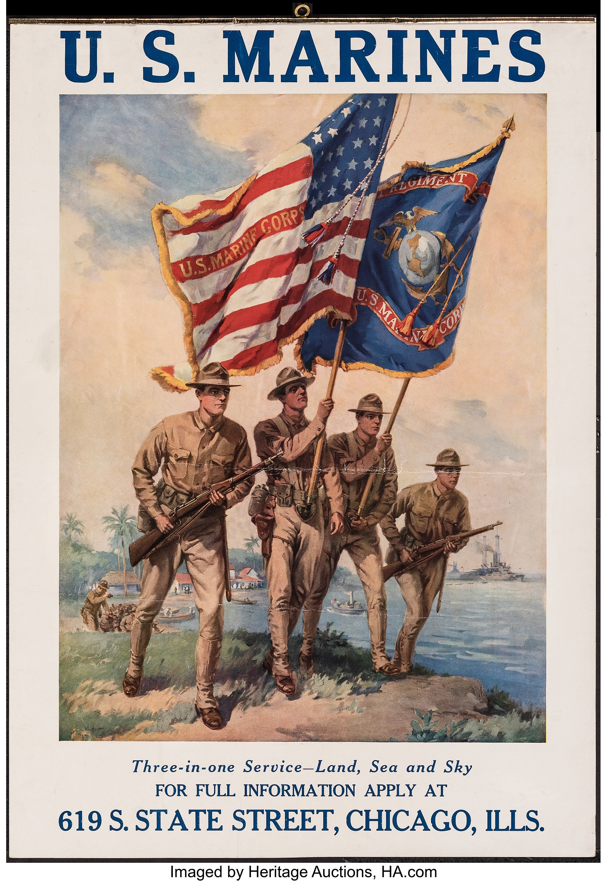 WWI US Marine Corps Soldiers Recruitment Poster Print