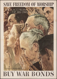 "Norman Rockwell World War II Propaganda (U.S. Government Printing Office, ). Folded, Very Fine. OWI ""Four Freedoms&..."