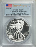 2013-W $1 Enhanced Silver Eagle, West Point Mint Set, First Strike MS70 PCGS. PCGS Population: (15114). NGC Census: (364...
