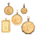 Estate Jewelry:Pendants and Lockets, Gold Coin, Gold Pendants . ... (Total: 5 Items)