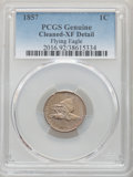 1857 1C -- Cleaned -- PCGS Genuine. XF Details. This lot will also include the following: 1858 1C Large Letters -- Cle...