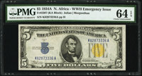 Fr. 2307 $5 1934A North Africa Silver Certificate. PMG Choice Uncirculated 64 EPQ