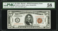 Fr. 2301 $5 1934 Hawaii Federal Reserve Note. PMG Choice About Unc 58