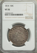 Bust Half Dollars: , 1814 50C VF35 NGC. NGC Census: (24/317). PCGS Population: (76/632). CDN: $375 Whsle. Bid for NGC/PCGS VF35. Mintage 1,000,0...