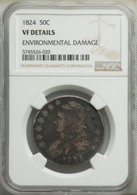 1824 50C -- Environmental Damage -- NGC Details. VF. This lot will also include a: 1831 50C -- Obverse Graffiti -- NGC...