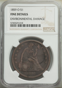 1859-O $1 -- Environmental Damage -- NGC Details. Fine. Mintage 360,000. ...(PCGS# 6947)