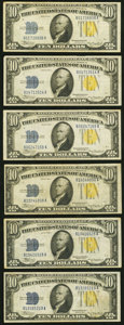 Small Size:World War II Emergency Notes, Fr. 2309 $10 1934A North Africa Silver Certificates. Six Examples. Very Fine or Better.. ... (Total: 6 notes)