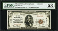 National Bank Notes:Pennsylvania, Mount Union, PA - $5 1929 Ty. 1 The First National Bank Ch. # 6411 PMG About Uncirculated 53 EPQ.. ...