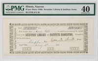 Nauvoo, (IL). Seventies' Library and Institute Association 1 Share Feb. 7, 1845 Rust 39 Nyholm 57 PMG Extremely Fine 40...