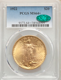 1922 $20 MS64+ PCGS. CAC. Smooth, frosty surfaces yield warm orange-gold mint luster, with only trivial abrasions eviden...