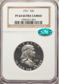 Proof Franklin Half Dollars, 1951 50C PR64 Ultra Cameo NGC. CAC. NGC Census: (28/50). PCGS Population: (18/41). PR64. Mintage 57,500. ...