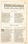 Books:Literature Pre-1900, [William Shakespeare]. [Second Folio]. The Life of King Henry the Fift. and The firft Part of King Henry the...