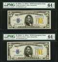 Small Size:World War II Emergency Notes, Fr. 2307 $5 1934A North Africa Silver Certificates. Two Examples. PMG Choice Uncirculated 64 EPQ.. ... (Total: 2 notes)
