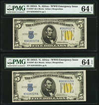 Fr. 2307 $5 1934A North Africa Silver Certificates. Two Examples. PMG Choice Uncirculated 64 EPQ