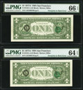 Error Notes:Third Printing on Reverse, Third Printing on Back Error Fr. 1910-L $1 1977A Federal Reserve Notes. Two Consecutive Examples. PMG Graded Gem Uncirculated ... (Total: 2 notes)