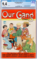 Golden Age (1938-1955):Humor, Our Gang Comics #1 (Dell, 1942) CGC NM 9.4 Off-white pages....