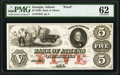 Obsoletes By State:Georgia, Athens, GA- Bank of Athens $5 18__ G6a Proof PMG Uncirculated 62, POCs.. ...