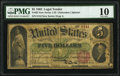 Fr. 62 $5 1862 Legal Tender PMG Very Good 10