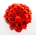 Jewelry, A Chinese Carved Coral Brooch. 1-7/8 x 1-3/4 x 1/2 inches (4.8 x 4.4 x 1.3 cm). ...
