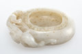 Carvings, A Chinese Carved White Jade Brush Washer. 1-1/4 x 3-7/8 x 2-7/8 inches (3.2 x 9.8 x 7.3 cm). ...