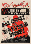 "Movie Posters:Academy Award Winners, All Quiet on the Western Front (Universal, R-1938). Fine/Very Fine on Linen. One Sheet (28.25"" X 41"") Uncensored Version. Ac..."