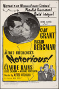 """Movie Posters:Hitchcock, Notorious (International Coproductions, R-1954). Folded, Very Fine-. One Sheet (27"""" X 41"""") & Uncut Pressbook (8 Pages, 11"""" X... (Total: 2 Items)"""
