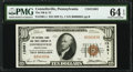 National Bank Notes:Pennsylvania, Connellsville, PA - $10 1929 Ty. 1 The National Bank & Trust Company Ch. # 13491 PMG Choice Uncirculated 64 EPQ.. ...