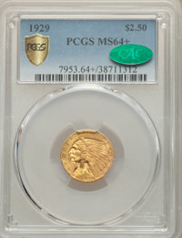 1929 $2 1/2 MS64+ PCGS. CAC. PCGS Population: (2059/229 and 149/13+). NGC Census: (2826/288 and 85/4+). MS64. Mintage 53...