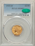 1925-D $2 1/2 MS64+ PCGS. CAC. PCGS Population: (2721/727 and 207/49+). NGC Census: (3650/1065 and 113/48+). MS64. Minta...