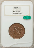 1837 1C Plain Cords, Medium Letters, MS64 Brown NGC. CAC. Note: Damage at the bottom of the holder. NGC Census: (0/0). P...
