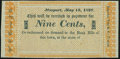 Obsoletes By State:Rhode Island, Newport, (RI)- W. C. Cozzens & Co. 9¢ May 15, 1837 Remainder Crisp Uncirculated.. ...