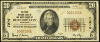 Redwood City, CA - $20 1929 Ty. 1 The First National Bank of San Mateo County Ch. # 7279 Fine.<
