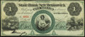 Obsoletes By State:New Jersey, New Brunswick, NJ- State Bank at New Brunswick $1 18__ Remainder Extremely Fine-About Uncirculated.. ...