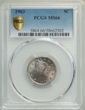 Liberty Nickels: , 1903 5C MS66 PCGS. PCGS Population: (112/9 and 19/1+). NGC Census: (55/4 and 1/0+). MS66. Mintage 28,006,724. ...