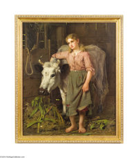 JOHN GEORGE BROWN (American 1831-1913) Cowgirl Oil on canvas 30.25in. x 25.25in. (sight size) Signed lower left: cop