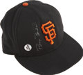 Baseball Collectibles:Hats, Barry Bonds Game Used and Signed Baseball Cap. The newly-crownedKing of the Home Run, Barry Bonds, wore the provided cap o...