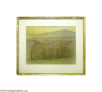 WILLIAM SAMUEL HORTON (American 1865-1936) French Paysage Pastel on paper 17.5in. x 22.75in. Signed lower right: Hor