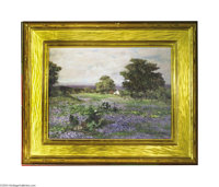 ROBERT WILLIAM WOOD (American 1889-1979) Bluebonnet painting, c.1966 Oil on canvas 11.5in.x 15.5in.(sight size) Sign