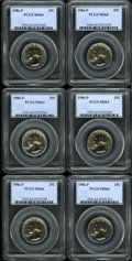 Washington Quarters, (6)1986-P 25C MS64 PCGS. ... (Total: 6 coins)