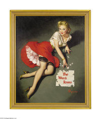 GILLETTE ELVGREN (1914-1980) Original Pin-up Art Get the Picture?, c.1957 Oil on Linen 30in. x 24in. (sight size