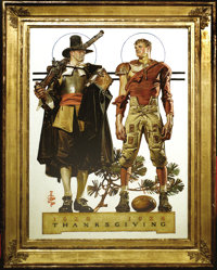 JOSEPH CHRISTIAN LEYENDECKER (1874-1951) Saturday Evening Post cover, November 24, 1928 Oil on canvas 28.5in. x 20.5in...