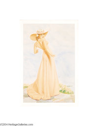 GEORGE PETTY (1894-1975) Original Pin-Up Art Ad for Old Gold cigarettes, c.1937 Watercolor on board 39in. x 26in. (s